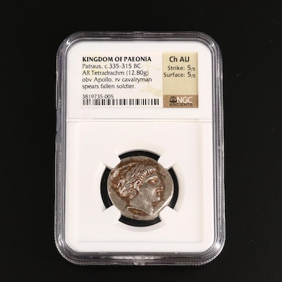 NGC Graded Ch AU Ancient Paeonia, Patraos AR Tetradrachm Coin, ca. 335 B.C.