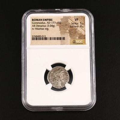 NGG Graded VF Ancient Roman Imperial AR Denarius of Commodus, ca. 180 A.D.