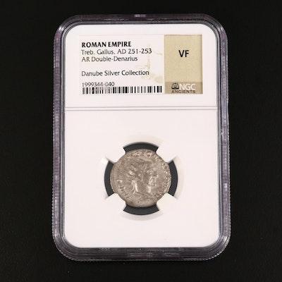 NGC Graded VF Ancient Roman AR Antoninianus of Trebonianus Gallus, ca. 251 A.D.