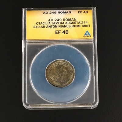 ANACS Graded EF40 Ancient Roman AR Antoninianus of Otacilia Severa, ca. 249 A.D.