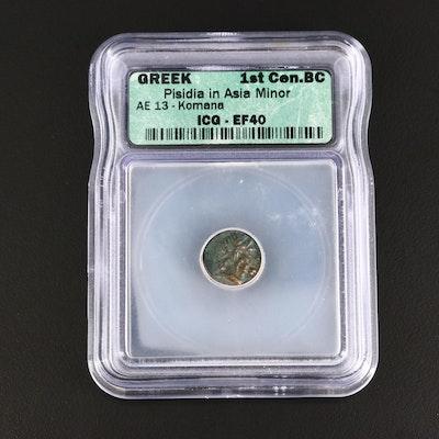 ICG Graded EF40 Ancient Pisidia, Komana AE13 Bronze Coin, ca. 100 B.C.