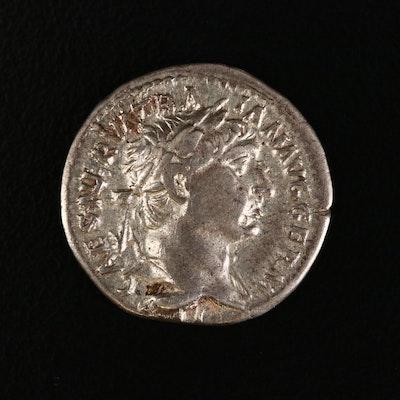 Ancient Roman Imperial AR Denarius of Trajan, ca. 101 A.D.