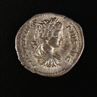 Ancient Roman Imperial AR Denarius of Caracalla, ca. 204 A.D.