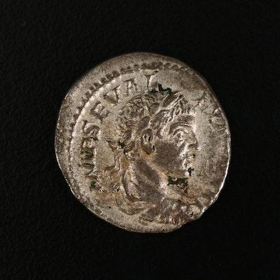 Ancient Roman Imperial AR Denarius of Severus Alexander, ca. 222 A.D.