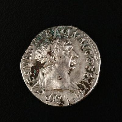 Ancient Roman Imperial AR Denarius of Trajan, ca. 100 A.D.