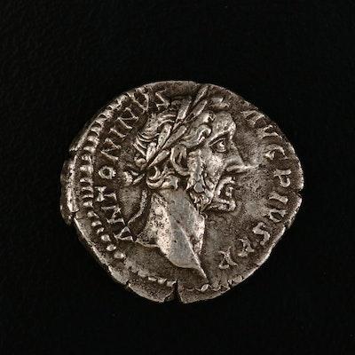 Ancient Roman Imperial AR Denarius of Antoninus Pius, ca. 156 A.D.