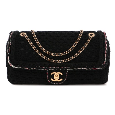 Chanel Black Crochet Cayo Coco Medium Flap Bag