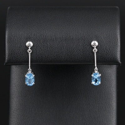 14K White Gold Topaz Drop Earrings