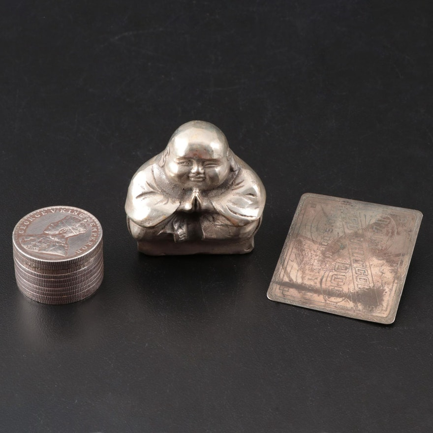 British India Stacked 1914 One Rupee Coin Pill Box with Other Decor