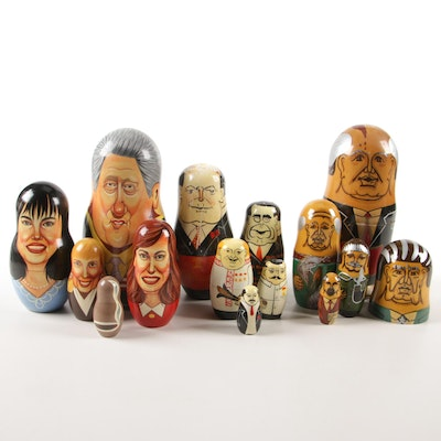 Political Figural Russian Nesting Dolls