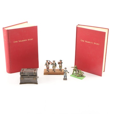 """Signed """"One Marine's Story"""" by John Seymour Letcher with Figurines and More"""