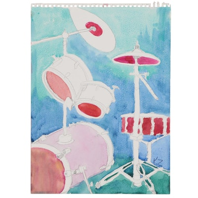 Kathleen Zimbicki Watercolor Painting of Drum Set