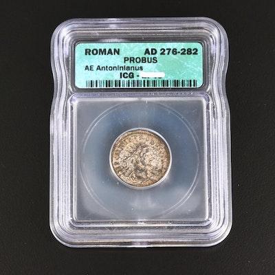 ICG Graded EF45 Ancient Roman AE Antoninianus Coin of Probus, ca. 276 A.D.