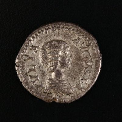 Ancient Roman Imperial AR Denarius of Julia Domna, ca. 205 A.D.