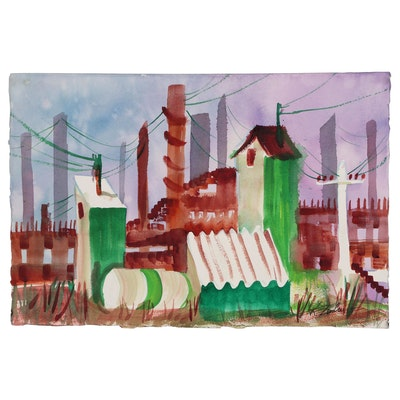 Kathleen Zimbicki Abstract Cityscape Watercolor Painting