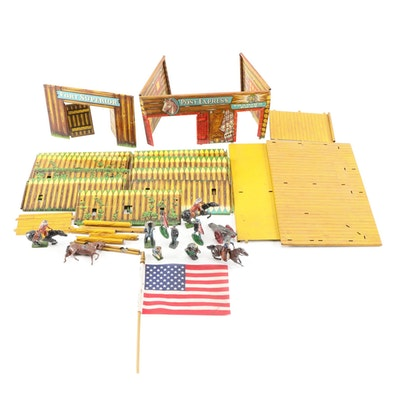 Pony Express Trading Post and Fort Superior Western Play Sets with Lead Figures