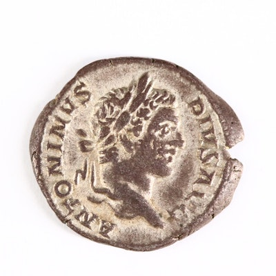 Ancient Roman Imperial AR Denarius of Caracalla, ca. 206 A.D.