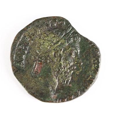 Ancient Roman Imperial AE Sestertius Coin of Marcus Aurelius, ca. 177 A.D.