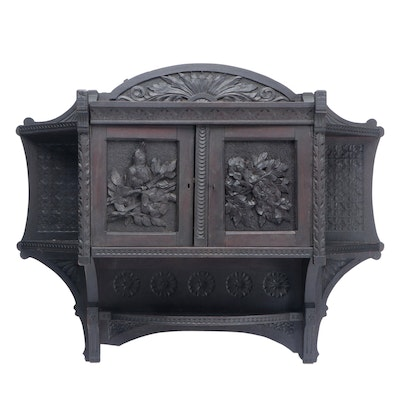 Cincinnati Art Carved Walnut Hanging Cabinet, Late 19th Century