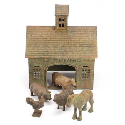 "Cast Iron ""Stock Farm"" Barn with Animals"