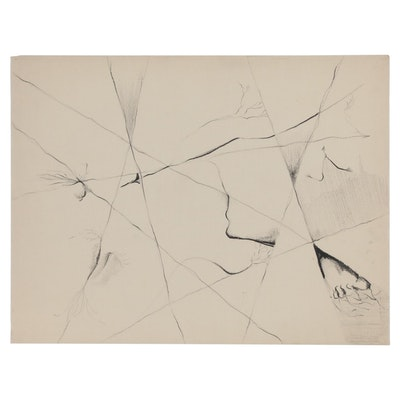 W. Glen Davis Abstract Charcoal Line Drawing