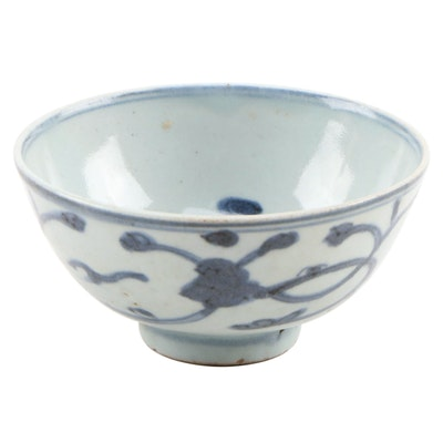 Chinese Blue and White Glazed Ceramic Bowl, Antique