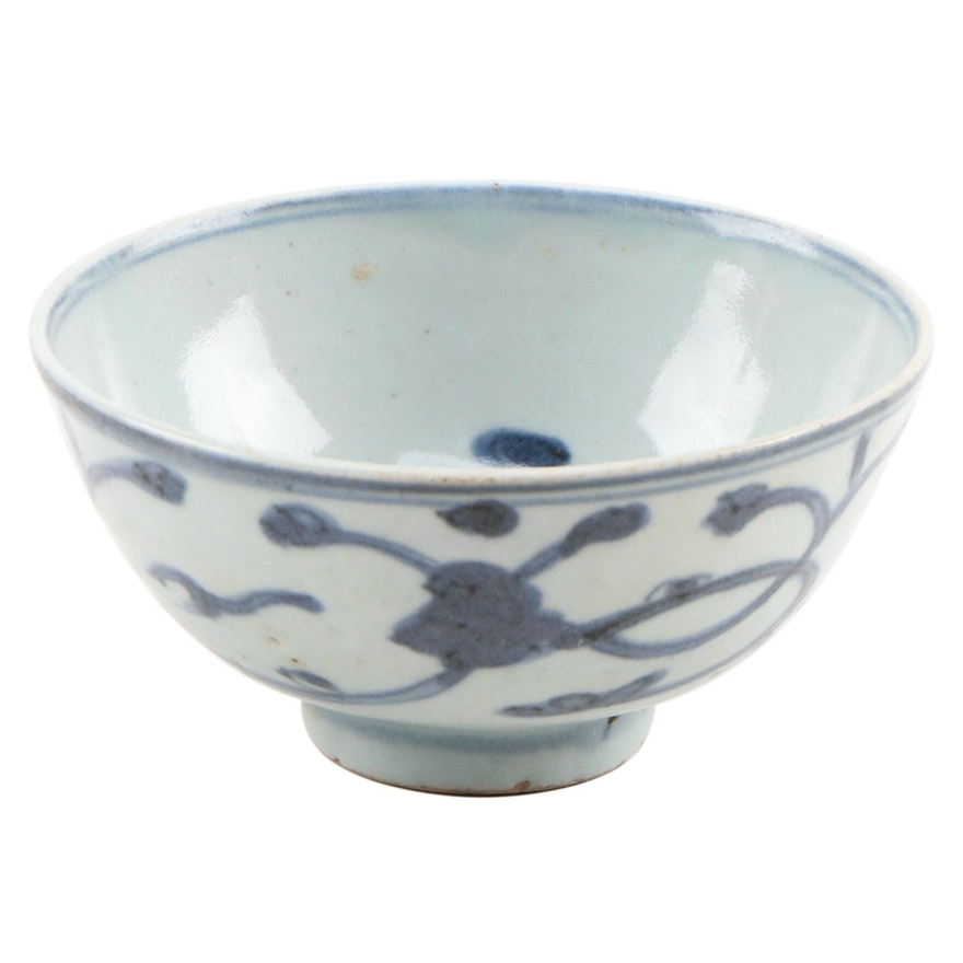 Chinese Blue and White Glazed Ceramic Bowl, Antique