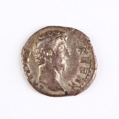 Ancient Roman Imperial AR Denarius of Aelius, ca. 137 A.D.