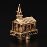 """14K Yellow Gold Glass Stan Hope Church Charm with """"The Lord's Prayer"""""""