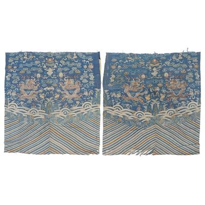 Antique Imperial Chinese Silk K'o-ssu Dragon Robe Panels, 19th Century