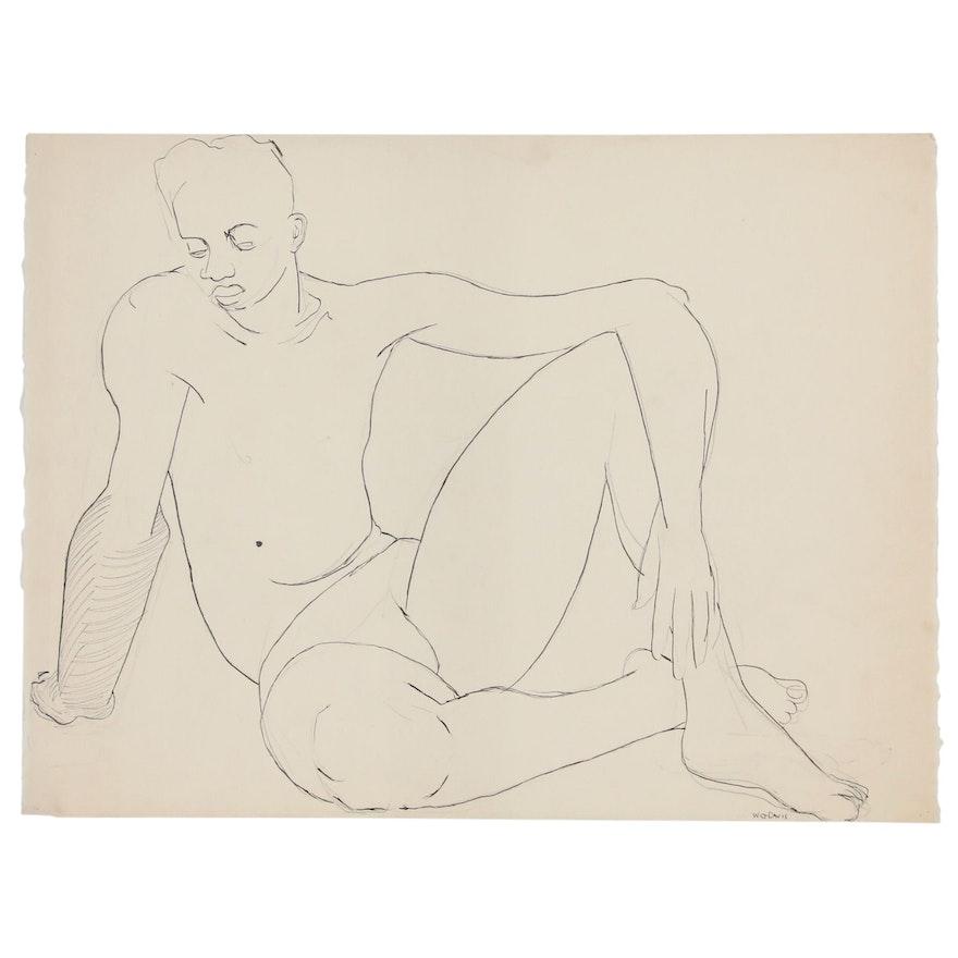 W. Glen Davis Ink Line Drawing of Seated Figure