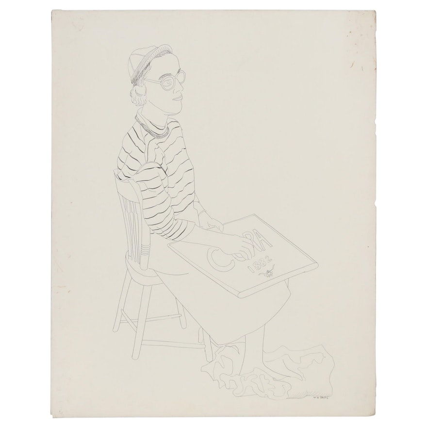 W. Glen Davis Ink Line Drawing of Seated Woman