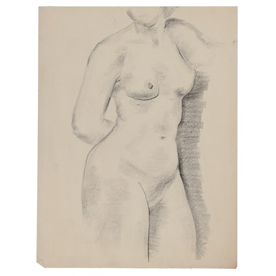 W. Glen Davis Charcoal Figure Drawing of Female Nude