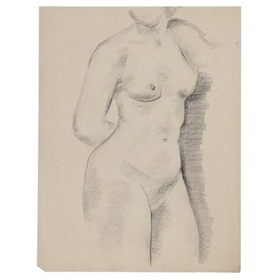 W. Glen Davis Charcoal Figure Drawing of Female Nude