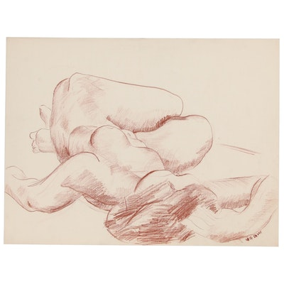 W. Glen Davis Conte Crayon Figure Drawing of Reclining Female Nude