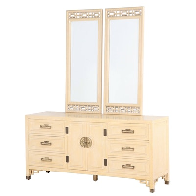 Century Furniture Chinoiserie Painted Low Chest Plus Two Wall Mirrors