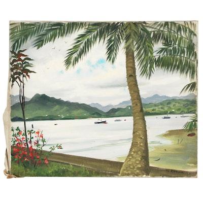 "Joseph Di Gemma Tropical Landscape Oil Painting ""Suva - Fiji"""