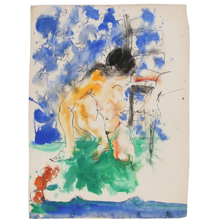 Hendrik Grise Watercolor Painting of Female Figure