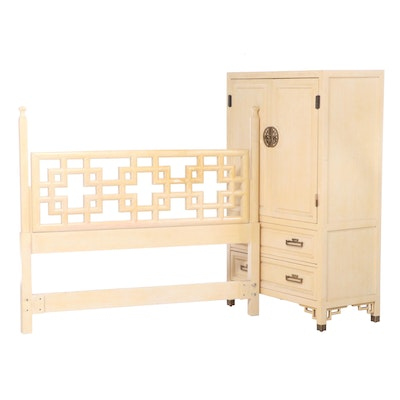 Century Furniture Chinoiserie Painted Linen Press Plus Headboard