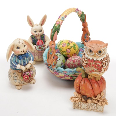 """Jim Shore """"Heartwood Creek"""" Resin Easter and Thanksgiving Figurines"""