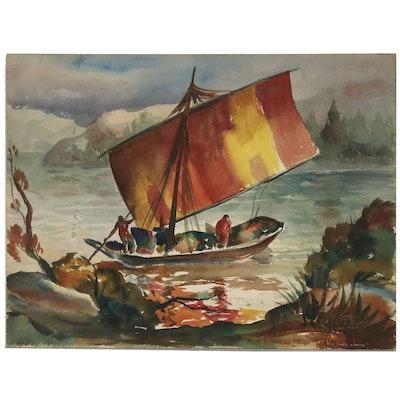 "Joseph Di Gemma Watercolor Painting ""The River Jumna"", 1944"
