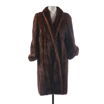 Mahogany Mink Fur Coat with Turned Back Cuffs by Shukert, Vintage