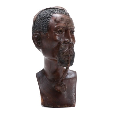 African Hand-Carved Wood Bust of Man with Pipe