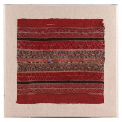 Andean Quechua Style Handwoven Lliclla Striped Brocade Textile
