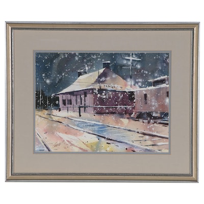 Ray Loos Watercolor Painting of Madeira Station Winter Scene, Mid 20th Century