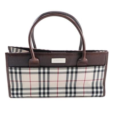 "Burberry ""House Check"" and Brown Leather East West Tote"