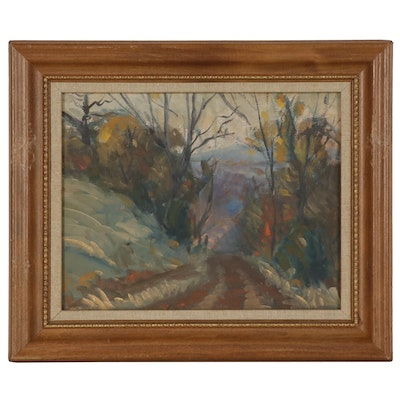 """Charles Rhinehart Landscape Oil Painting """"Country Road"""""""