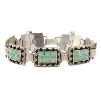 Southwestern Style Sterling Silver Synthetic Opal Bracelet