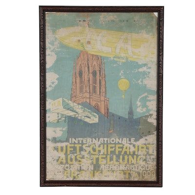 Lithograph Poster for German Aeronautical Show, 1909