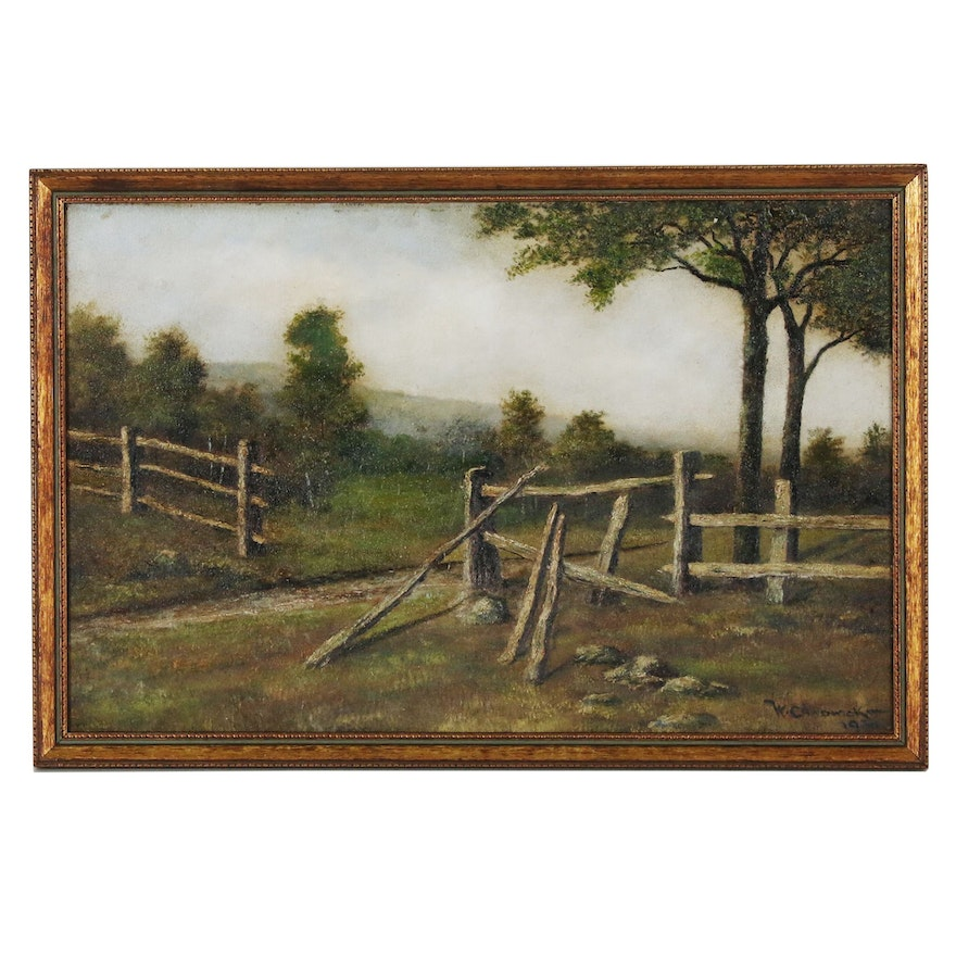 Pastoral Landscape Oil Painting in the Manner of William Chadwick, 1930